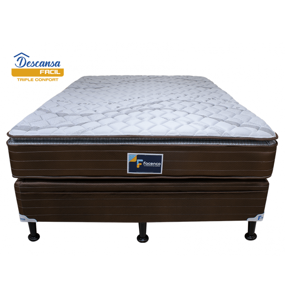 CAMA QUEEN SIZE DESCANSA FACIL 3PLE CONFORT