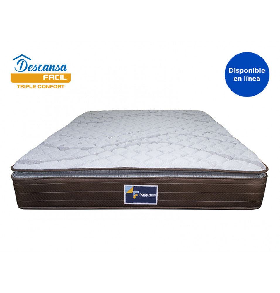 COLCHON QUEEN SIZE DESCANSA FACIL 3PLE CONFORT