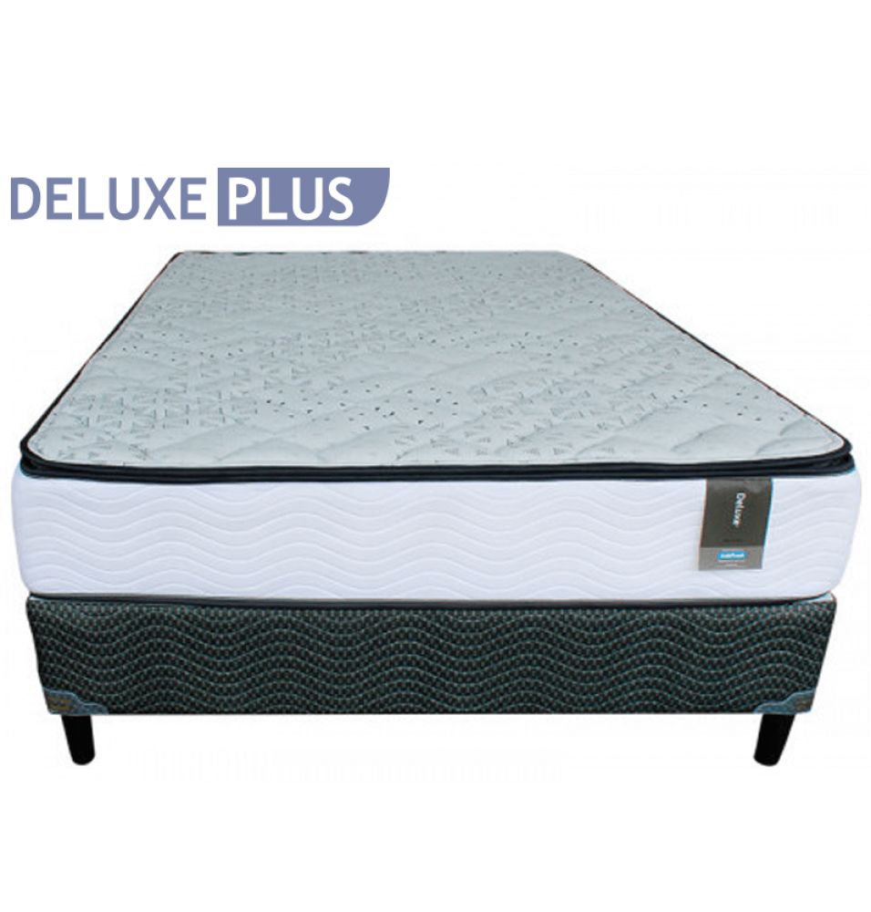 CAMA QUEEN INDUFOAM DELUXE PLUS PT BASE ESTANDAR